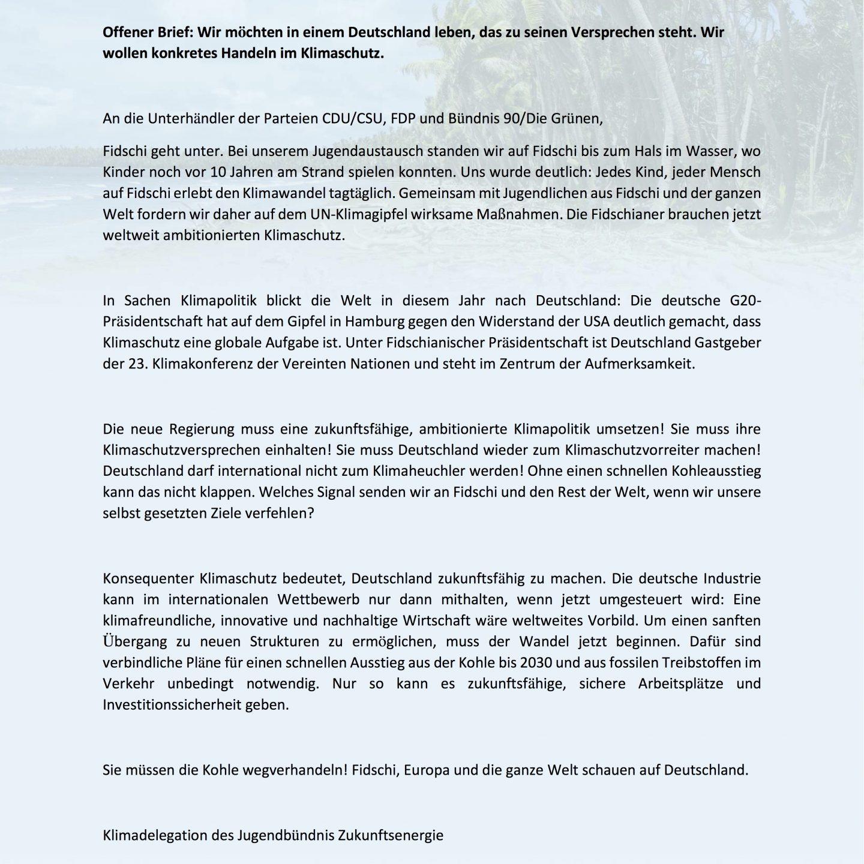 Offener Brief an die Sondierungsparteien: Kohleausstieg bis2030