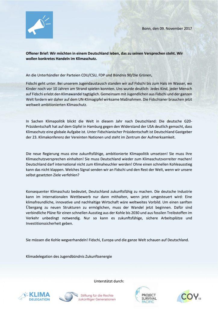 Offener Brief an die Sondierungsparteien: Kohleausstieg bis 2030 ...